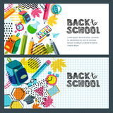 Set of  back to school sale banner, poster background. Hand drawn sketch letters, multicolor pencils. Royalty Free Stock Image