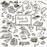 Set back to school. sketch. book, brush, calculator, eraser, fastener, globe Royalty Free Stock Photography