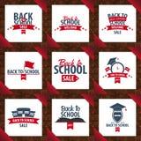 Set of Back to School wooden background. Education banner. Vector illustration. Stock Images