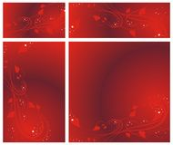 Set a background abstract lines and hearts Stock Images
