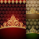 Set background  with gold(en) pattern Royalty Free Stock Photo