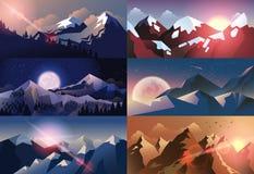Set background mountain landscape in flat style Stock Photo