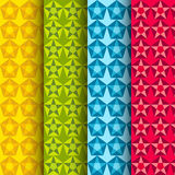 Set of background patterns with colorful vector stars. Stock Image