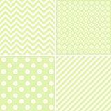Set of 4 background patterns in pale green. Royalty Free Stock Images