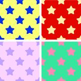 Set of background seamless patterns colorful stars. Red, yellow, green, purple. Flat design. Illustration Stock Photos