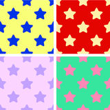 Set of background seamless patterns colorful stars. Red, yellow, green, purple. Flat design Vector. Illustration Stock Photos