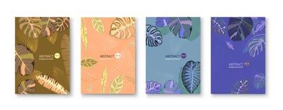 Set Background Summer Tropical Leaves Vector Design royalty free illustration