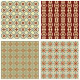 Set of background tiles in art deco style with simple geometric patterns in beige, red and green nostalgic color Stock Photography