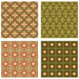 Set of background tiles in art deco style with simple geometric patterns in beige, red and green nostalgic color shade Stock Images