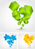 Set of backgrounds with 3d element Stock Photography