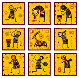 Set of 9 backgrounds with African ethnic patterns. Collection of nine patterns with African ethnic ornaments with animal and dancing musicians of yellow, orange Stock Image