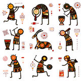 Set of 9 backgrounds with African ethnic patterns. Collection of nine patterns with African ethnic ornaments with animal and dancing musicians of yellow, orange Royalty Free Stock Photos