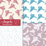 Set of backgrounds angels. Set of seamless background with the angels. Blue Angel figure on white background. Pink angel on a white background. Contour figures Royalty Free Stock Photo