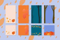 Set of  autumn backgrounds for social media networks. Vector illustration. Set of  backgrounds with autumn elements for social media networks. Templates for Stock Photos