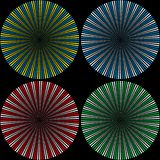 Set of backgrounds from balls consisting of colored small balls in the form of rays royalty free stock photography