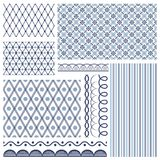 Set of backgrounds, borders, edging. In style russian gzhel Royalty Free Stock Image