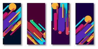 Set of backgrounds with bright abstract colorful pattern. stock illustration