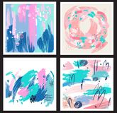 Set of backgrounds from brush strokes Stock Photo
