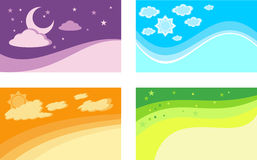 Set of backgrounds for business cards. The seasons and time of d Stock Images