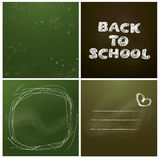 Set of 4 backgrounds - Chalkboard with green Royalty Free Stock Image
