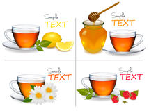 Set of backgrounds with Cups of tea. Vector Stock Photos