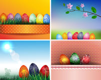 Set of backgrounds with easter eggs Stock Images