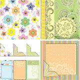 Set of backgrounds and elements for scrapbooking stock photos