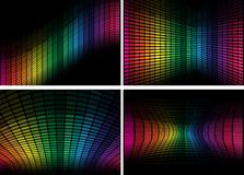 Set of Backgrounds - Equalizer. Set of Abstract Backgrounds - Multicolor Equalizers on Black Background / Vector stock illustration