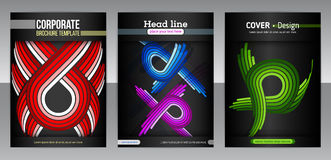 Set of backgrounds with flat dynamic pattern Stock Photo