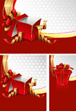 Set of backgrounds with gift boxes Stock Image