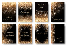 Set of backgrounds with golden hearts. Valentines Day background with twinkle lights. Golden dust particles on a black backdrop. Design to celebrate marriage Stock Photography