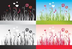 Set of backgrounds with grass, flowers and hearts Stock Images