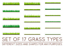 Set of Backgrounds Of Green Grass, Isolated On White Background,. Vector Illustration Royalty Free Stock Photos