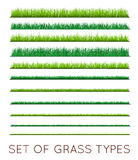 Set of Backgrounds Of Green Grass,  On White Background,. Vector Illustration Stock Image