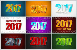 Set of backgrounds with a Happy New Year 2017. Royalty Free Stock Photo