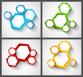 Set of backgrounds with hexagons Stock Photography