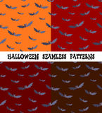 A set of backgrounds for the holiday Halloween, bat, an editable file, four colors, seamless. Stock Image