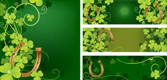 Set of backgrounds with horseshoe Stock Photos