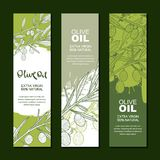 Set of  backgrounds for label, package. Illustration of olive branch. Agriculture, olive oil and cosmetics package. Set of  backgrounds for label, package Royalty Free Stock Images