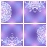 Set Of Backgrounds With Lacy Patterns. Four backgrounds with symmetric lacy ornaments. Line art doodles. Fragile elements on vivid colorful square backgrounds Stock Image