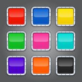 Set of backgrounds with metal border for the app royalty free illustration