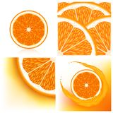 Set of backgrounds with oranges Royalty Free Stock Photos