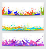 Set of backgrounds with  paint  blots, splashes, drops Stock Photography