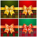 Set backgrounds with satin ribbon bow Stock Photos