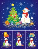 Set of backgrounds with snowmen. Royalty Free Stock Photography