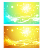 Set of backgrounds with sun. Set of abstract backgrounds with sun, blue and orange vector illustrations royalty free illustration