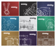 Set of backgrounds with technical drawings by hand Royalty Free Stock Images