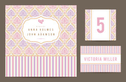 Set backgrounds to celebrate the wedding. Invitation card, table number, guest card. Vector illustration. Romantic pastel card with ornamental vintage Royalty Free Stock Image