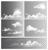 Set of backgrounds with transparent different clouds.