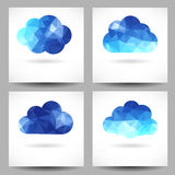 Set of backgrounds with triangular clouds Stock Photo